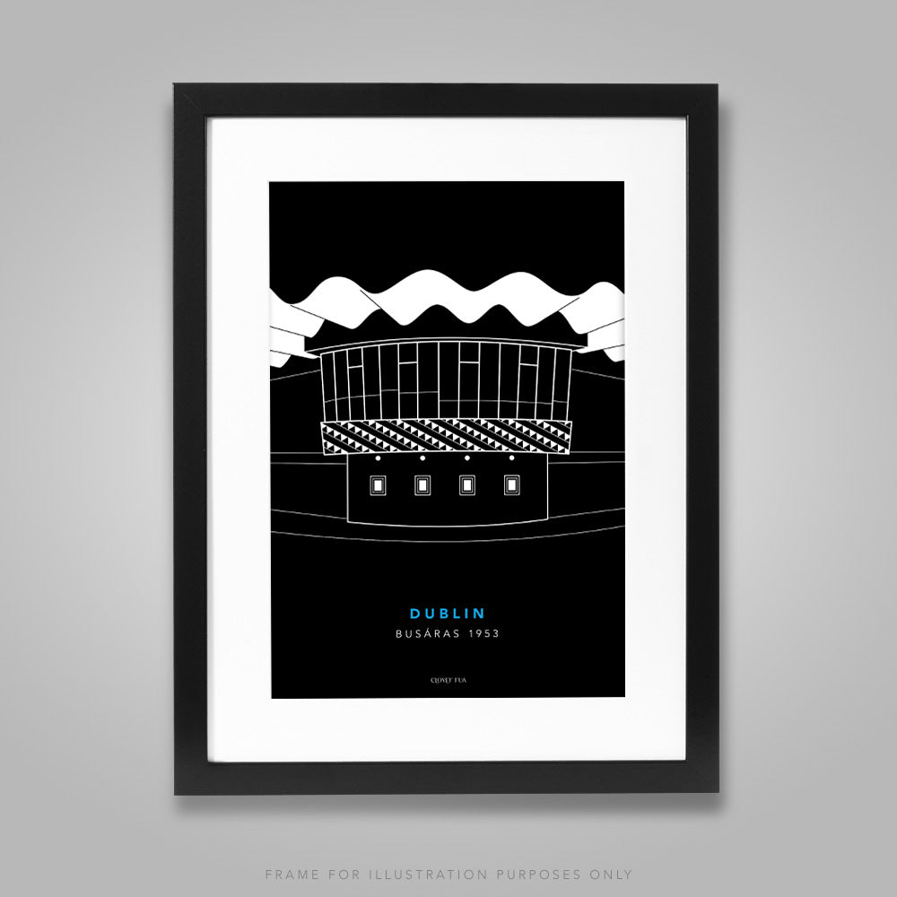 For illustration purposes only - Busaras white line drawing on black background A4 print, framed with mount in 300mm x 400mm black frame.