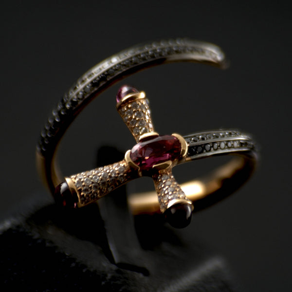 Cross & Sword Diamond Ring