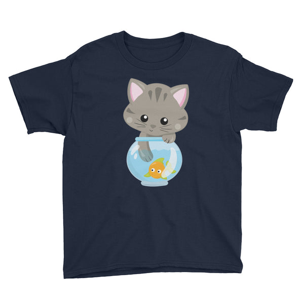 Cat in Fishbowl Adorable Shirt For Kids - Apparelized
