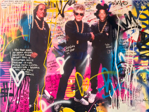 Benjamin Franklin, Andy Warhol, and Basquiat dressed all in black and wearing gold chains. They have their arms crossed and are looking at the viewer. Around them is a background of graffitti style hearts, drips, and spirals.
