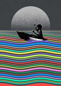Child in a small rowboat on water made of a rainbow of colours. In the background is a grey sky with a large, simple moon. The child and boat are stencil style, in black and white.