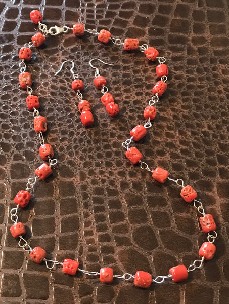"20"" Red Coral & Sterling Silver Necklace & Earring Set"