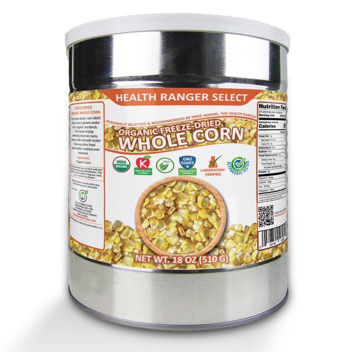 Freeze-Dried Organic Whole Corn (18oz, #10 can) (2-Pack)