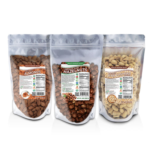Organic Raw Almonds 1lb + Organic Raw Cashews 12oz + Organic Raw De-shelled Hazelnuts With Skin 10 oz (ALL Non-fumigated, Unpasteurized, Non-irradiated)