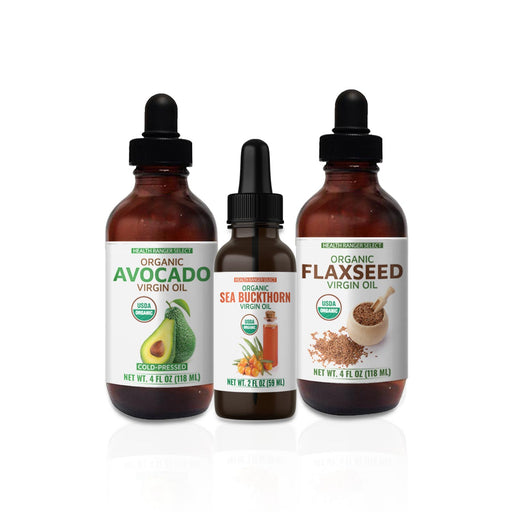 Organic Omega-Rich Super Oils Combo Pack: Sea Buckthorn, Flaxseed, Avocado