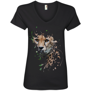 Disappearing Cheetah Ladies V-Neck T-Shirt