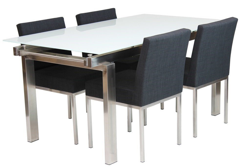 Hanna Extension Dining Table White Matt Glass