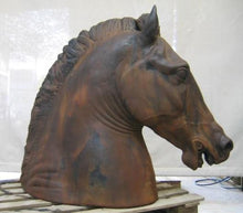 Equestrian Horse Head on Base, Cast Iron Finish