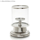 Hurricane with Candle Pillar Silver Small