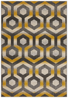Irene Hive Modern Rug Yellow Grey