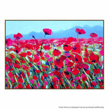 The Poppy Fields Canvas Painting with Floating Frame