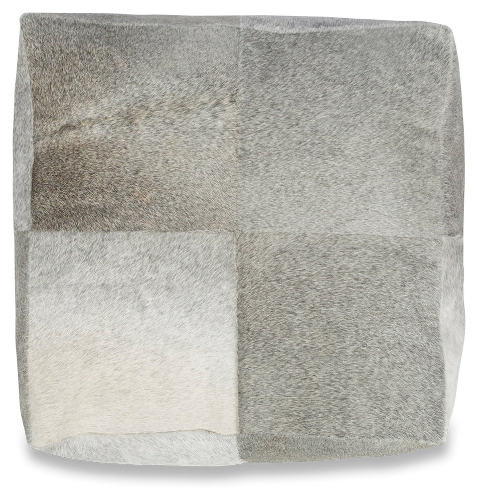 Square Block Cow Hide Ottoman Grey
