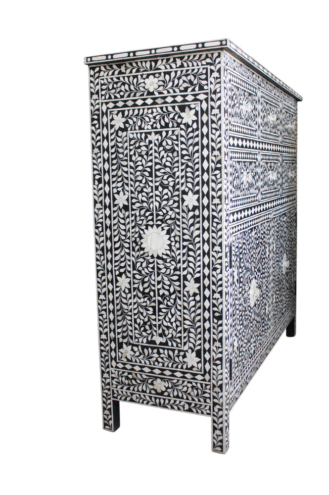 Black and White Bone Inlay 6 Drawer/2 Door Chest/Cabinet