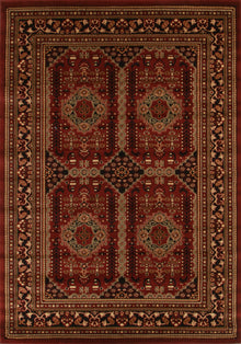 Traditional Afghan Design Rug Burgundy Red