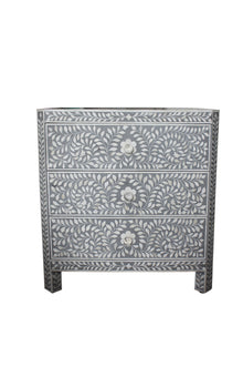 Grey and White Bone Inlay Florentine Bedside Chest