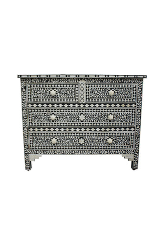 Black and White Bone Inlay Florentine 3 Drawer Bedside Chest