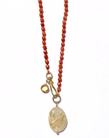 Silk Knotted Coral Necklace