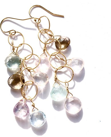 Soft Color Multi Stone Earrings