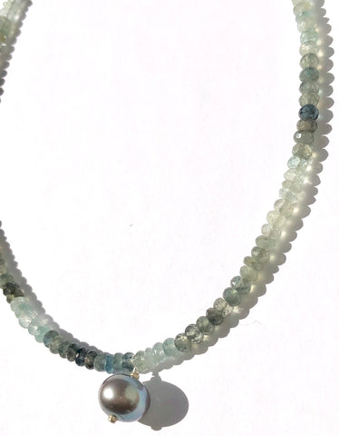 Moss Aquamarine & Pearl Choler Necklace