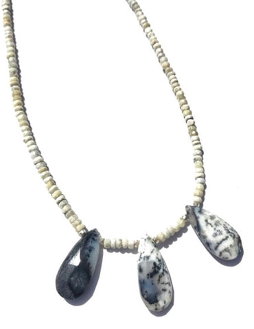 Dendrite Opal on White Silverite Necklace
