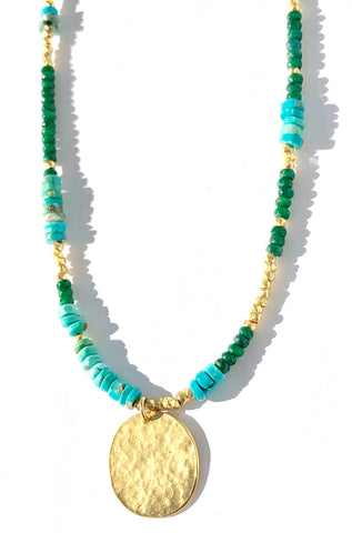 Blue Green & Gold Oh My Necklace - SOLD OUT