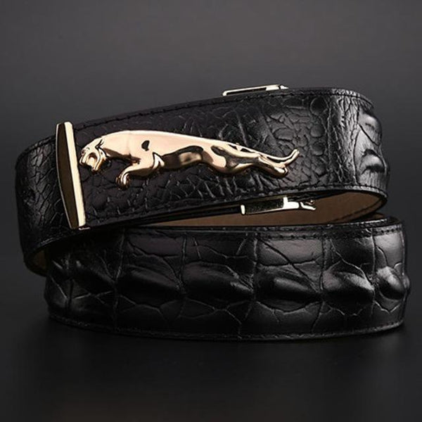 brand new jaguar crocodile style gold belt size 120 cm high quality belts fashion cowboy - SolaceConnect.com