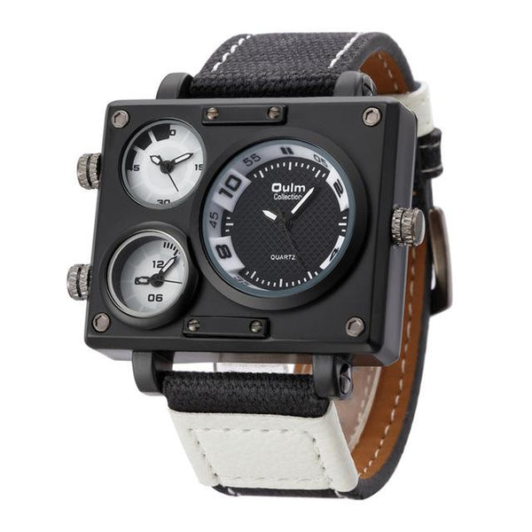 Oulm Fabric Strap Male Square Watch Mens Watches Top Brand Luxury Watches Famous Brand Designer - SolaceConnect.com