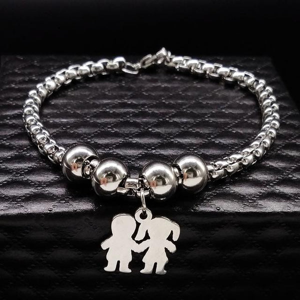 Mother and Daughter Stainless Steel Bracelet for Women Stainless Steel Mother Bracelet - SolaceConnect.com