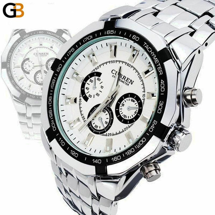 Curren Brand Fashion Men's Full stainless steel Military Casual Sport Watch waterproof relogio - SolaceConnect.com