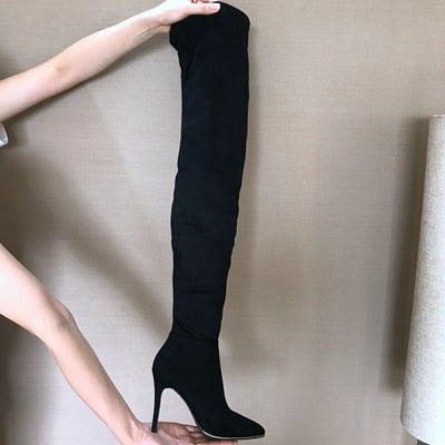 10.5CM Heels Women Shoes Dress Over Knee Winter Boots Woman Faux Suede Leather Boot Womens Thigh - SolaceConnect.com