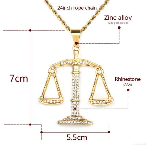 Iced Gold Balance Libra Scale Pendant Bling Rhinestone Crystal Men's Hip hop Pendant Necklace Punk - SolaceConnect.com