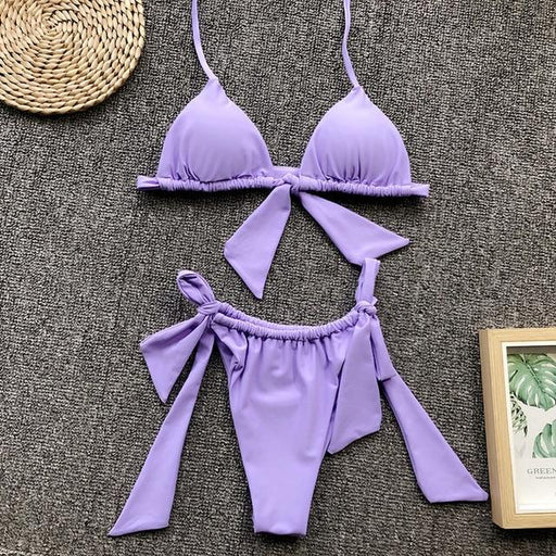 Asia Sexy Beach Bikini Set 2019 Summer Women Push Up Thong Bathing Set Lace Up Bow Halter - SolaceConnect.com