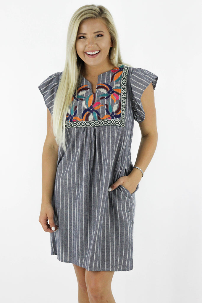 Counting On Fun Striped Embroidered Dress