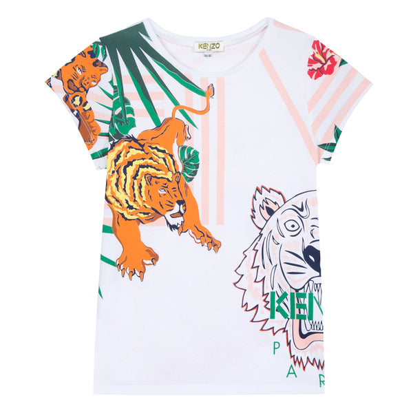 Girls White Printed Cotton T-shirt