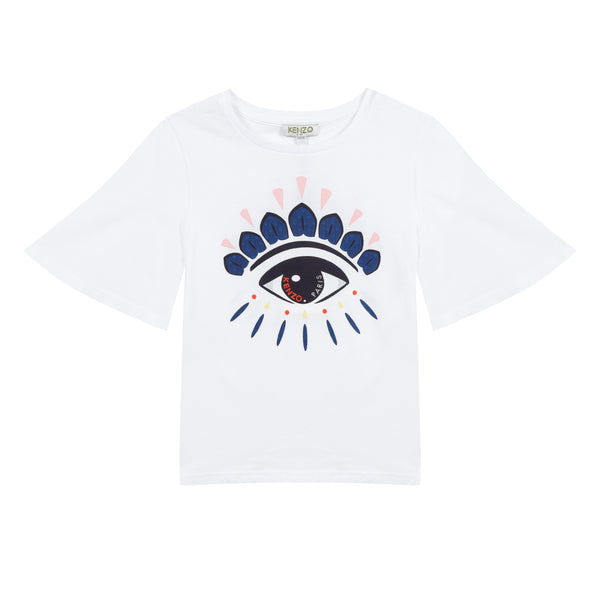 Girls White Eye Cotton T-shirt