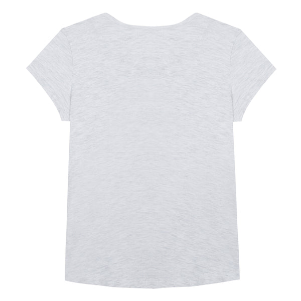 Girls Light Marl Grey Cotton T-shirt