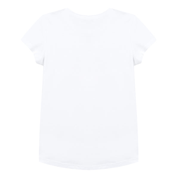 Girls Optic White Logo Cotton T-shirt