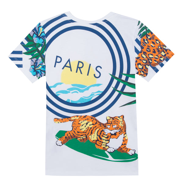 Boys White Printed Cotton T-shirt