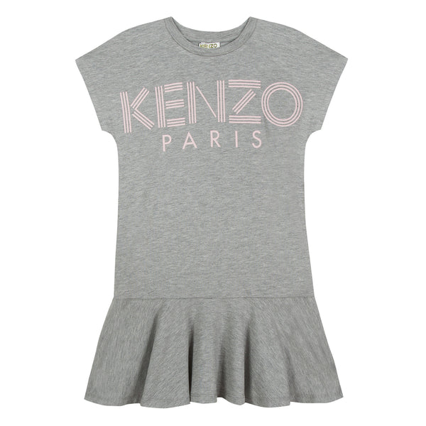Girls Marl Grey Logo Dress
