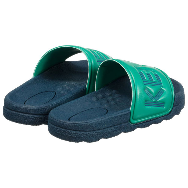 Boys Green & Blue Logo Sandals