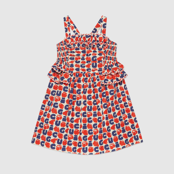 Girls Red & Blue Logo Cotton Dress
