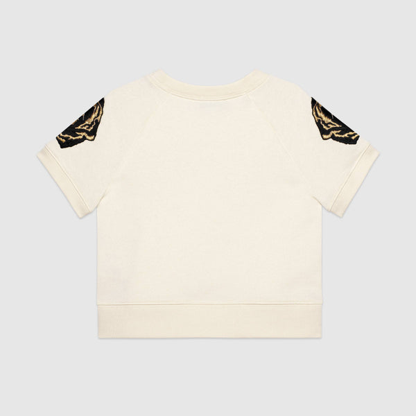 Boys Rice White Embroidered Cotton T-Shirt