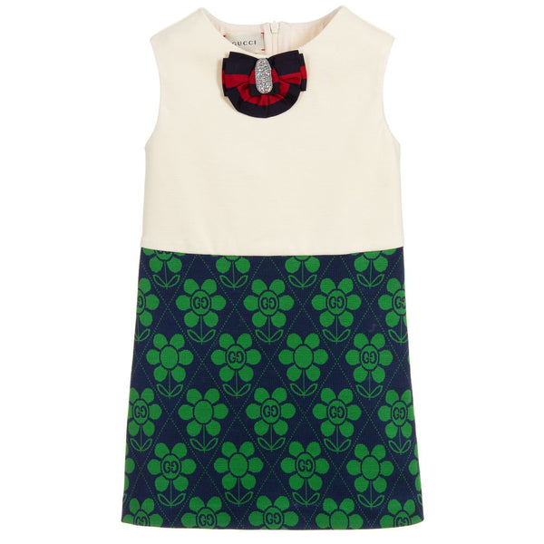 Girls White & Green Dress