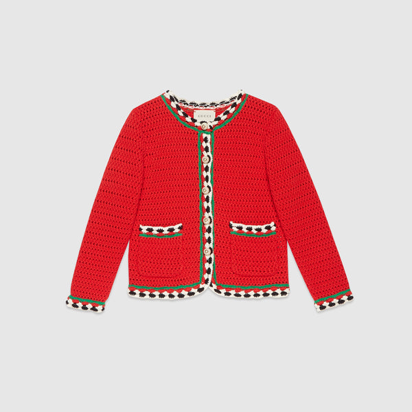 Girls Red Lace Cardigan