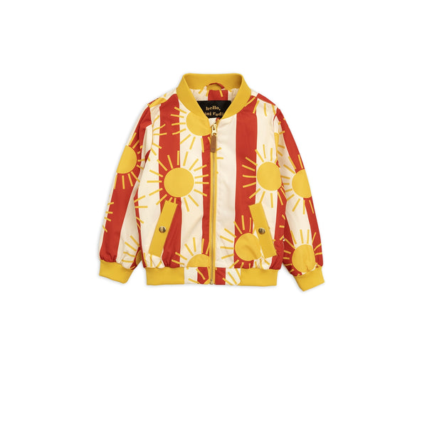 Girls Red Sun Stripe Baseball Jacket