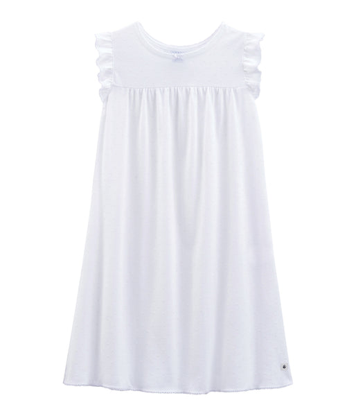 Girls White Cotton Nightwear