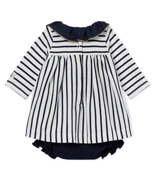 Baby Girls White & Navy Striped Dress