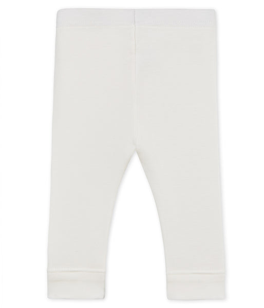 Baby Girls Rice White Cotton Leggings
