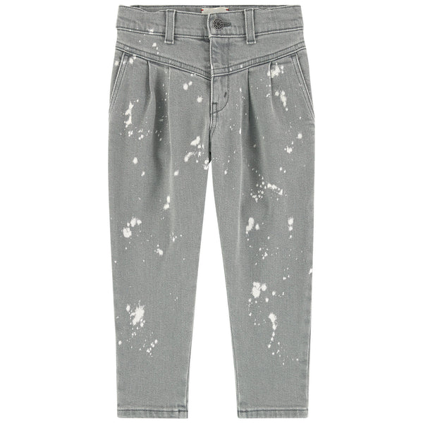 Girls Grey Denim Cotton Trousers