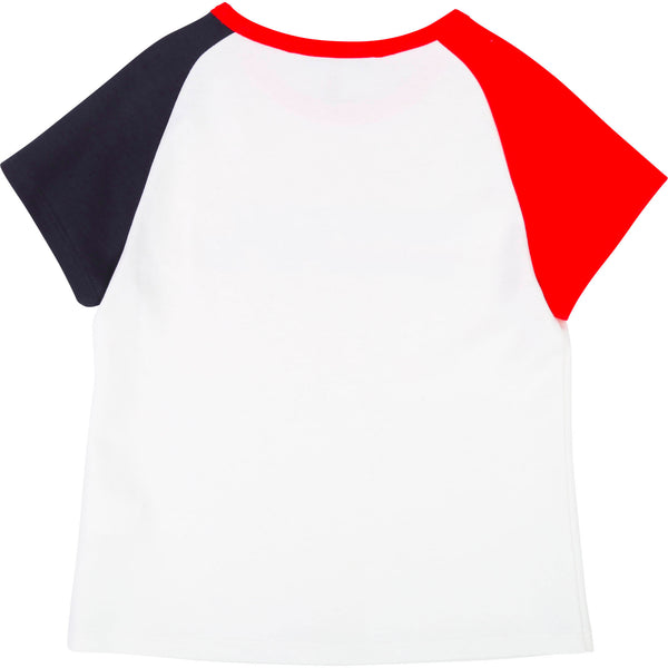 Girls White & Red Logo Cotton T-shirt